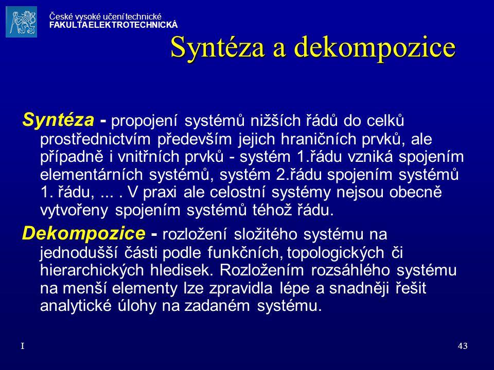 I43 Syntéza a dekompozice Syntéza - propojení systémů nižších řádů do celků prostřednictvím především jejich hraničních prvků, ale případně i vnitřníc