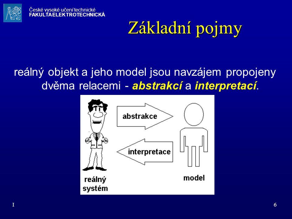 I6 Základní pojmy reálný objekt a jeho model jsou navzájem propojeny dvěma relacemi - abstrakcí a interpretací. České vysoké učení technické FAKULTA E