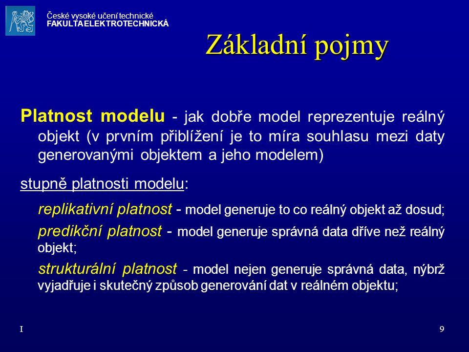 I9 Platnost modelu - jak dobře model reprezentuje reálný objekt (v prvním přiblížení je to míra souhlasu mezi daty generovanými objektem a jeho modele