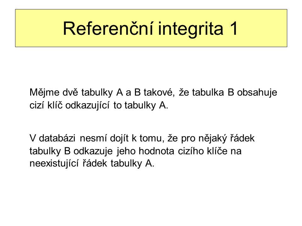 Referenční integrita 1 Mějme dvě tabulky A a B takové, že tabulka B obsahuje cizí klíč odkazující to tabulky A. V databázi nesmí dojít k tomu, že pro