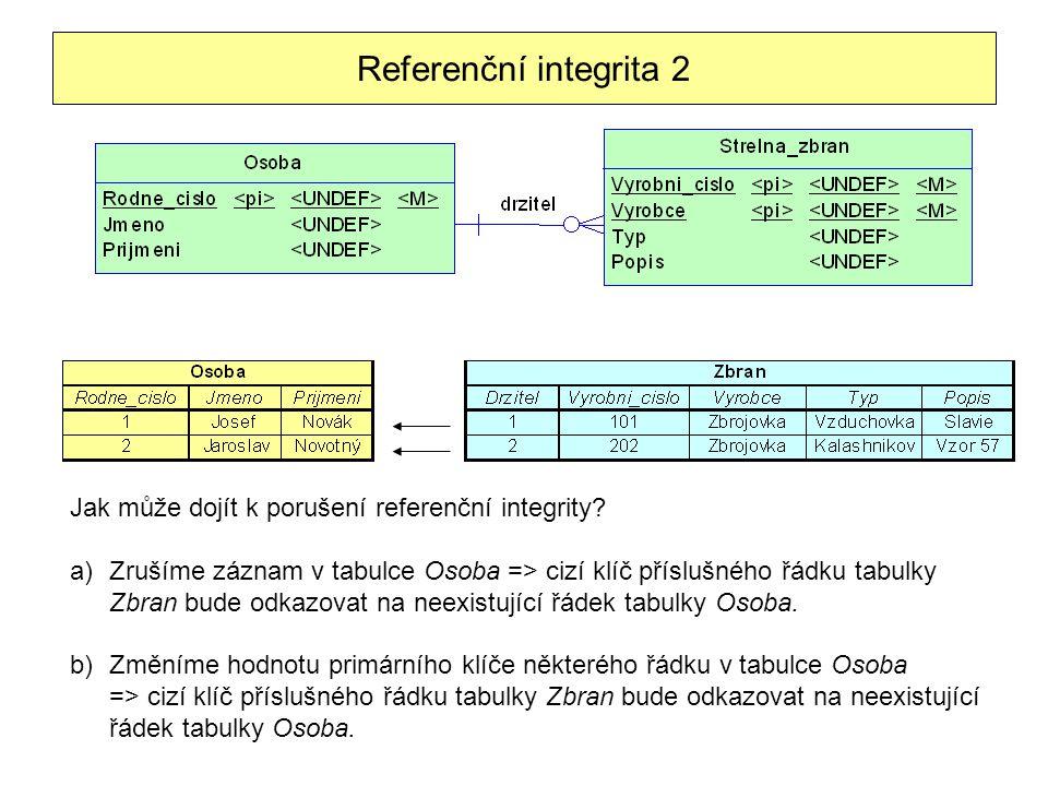 Referenční integrita 2 Jak může dojít k porušení referenční integrity? a)Zrušíme záznam v tabulce Osoba => cizí klíč příslušného řádku tabulky Zbran b