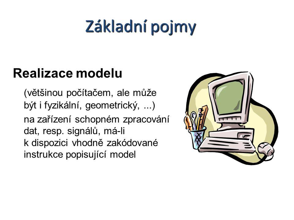 Realizace modelu (většinou počítačem, ale může být i fyzikální, geometrický,...) na zařízení schopném zpracování dat, resp.