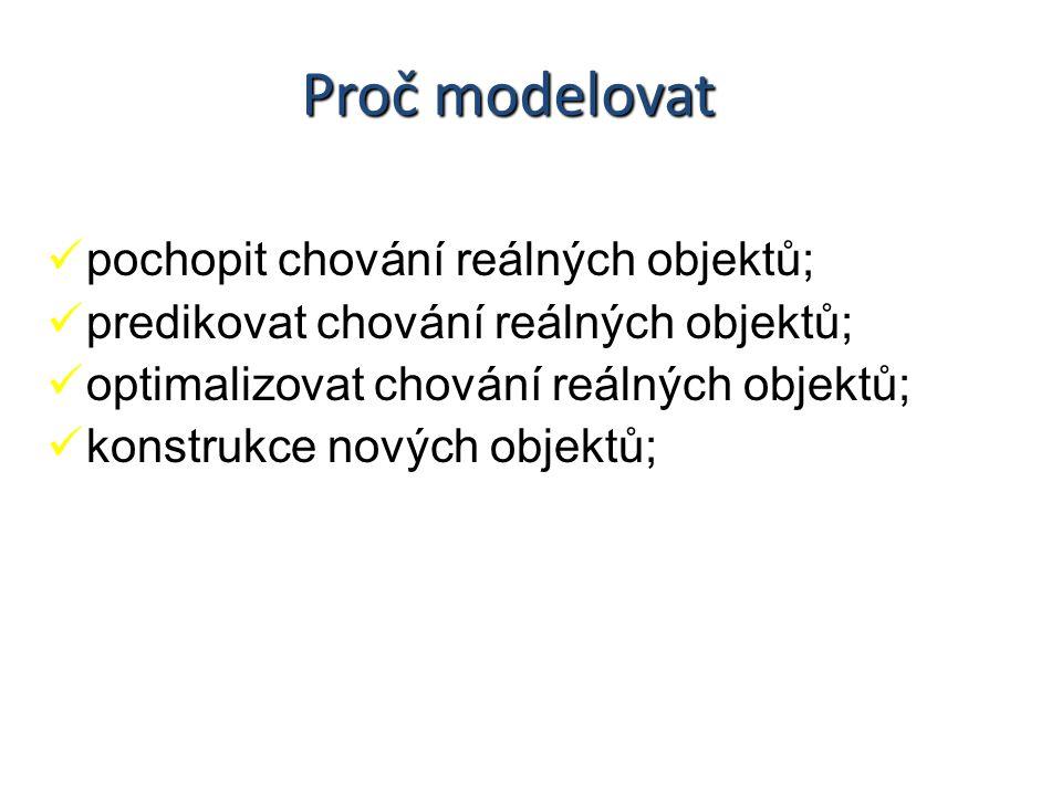 Proč modelovat pochopit chování reálných objektů; predikovat chování reálných objektů; optimalizovat chování reálných objektů; konstrukce nových objektů;