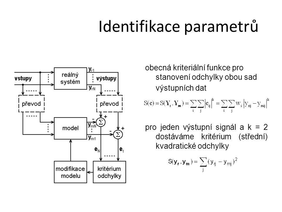 Identifikace parametrů obecná kriteriální funkce pro stanovení odchylky obou sad výstupních dat pro jeden výstupní signál a k = 2 dostáváme kritérium (střední) kvadratické odchylky
