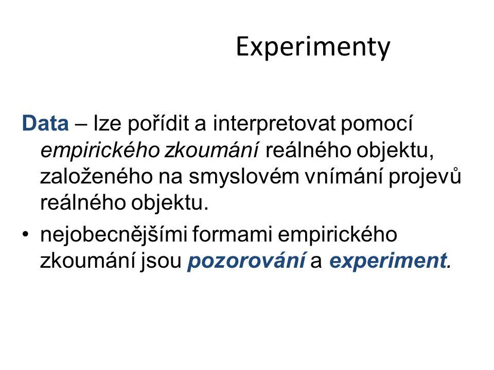 Experimenty Data – lze pořídit a interpretovat pomocí empirického zkoumání reálného objektu, založeného na smyslovém vnímání projevů reálného objektu.