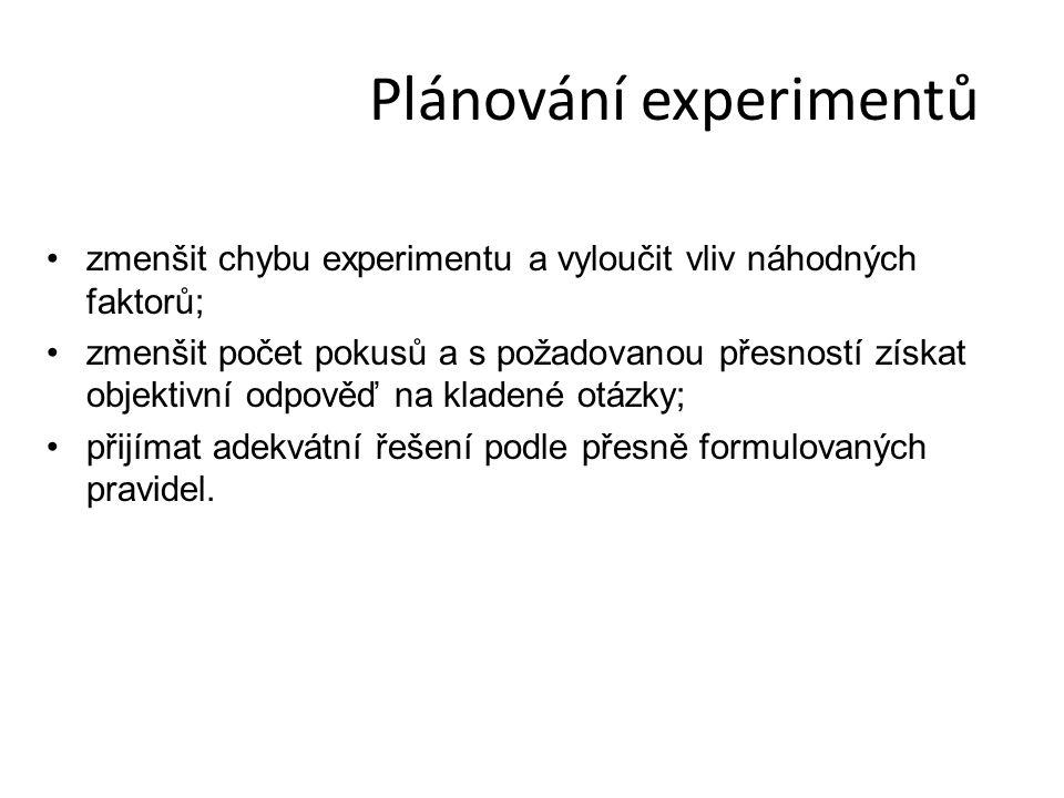 Plánování experimentů zmenšit chybu experimentu a vyloučit vliv náhodných faktorů; zmenšit počet pokusů a s požadovanou přesností získat objektivní odpověď na kladené otázky; přijímat adekvátní řešení podle přesně formulovaných pravidel.