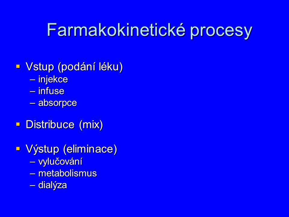 Farmakokinetické procesy Farmakokinetické procesy  Vstup (podání léku) –injekce –infuse –absorpce  Distribuce (mix)  Výstup (eliminace) –vylučová