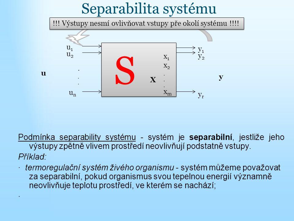 Separabilita systému Podmínka separability systému - systém je separabilní, jestliže jeho výstupy zpětně vlivem prostředí neovlivňují podstatně vstupy.