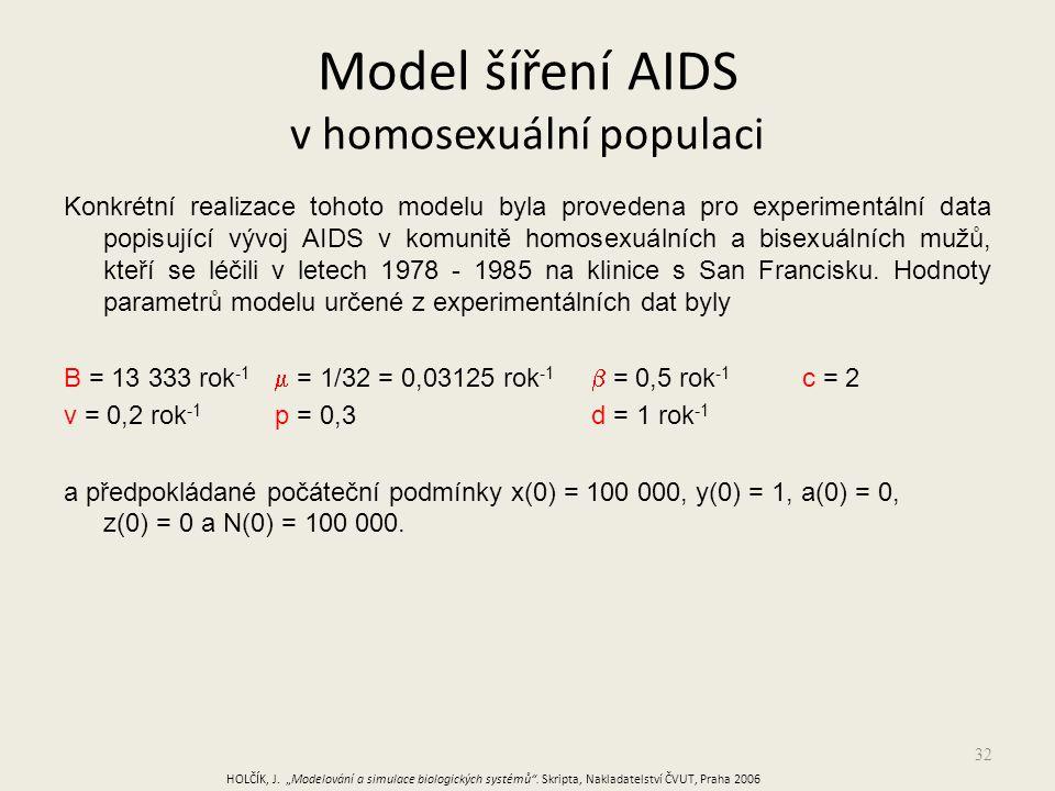 32 Konkrétní realizace tohoto modelu byla provedena pro experimentální data popisující vývoj AIDS v komunitě homosexuálních a bisexuálních mužů, kteří se léčili v letech 1978 - 1985 na klinice s San Francisku.