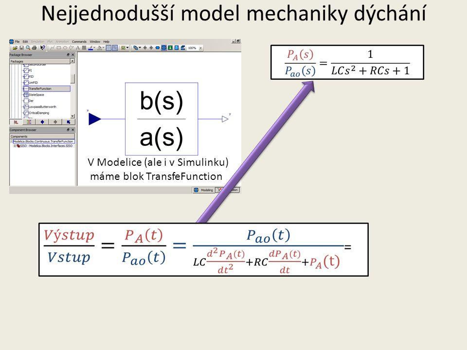 V Modelice (ale i v Simulinku) máme blok TransfeFunction Nejjednodušší model mechaniky dýchání