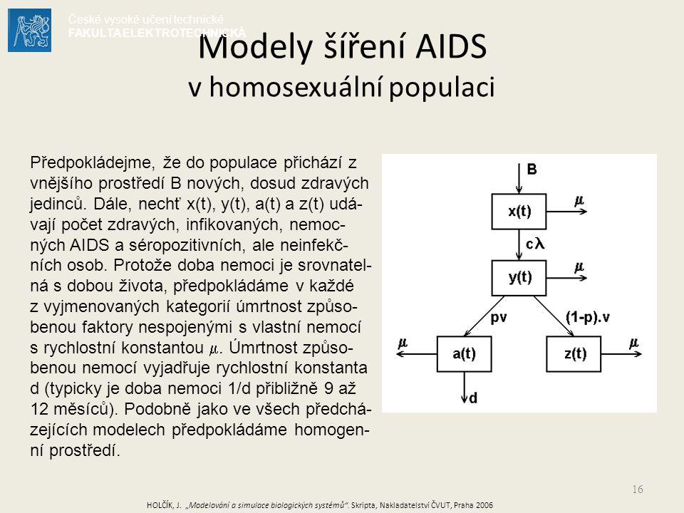 16 Modely šíření AIDS v homosexuální populaci Předpokládejme, že do populace přichází z vnějšího prostředí B nových, dosud zdravých jedinců.