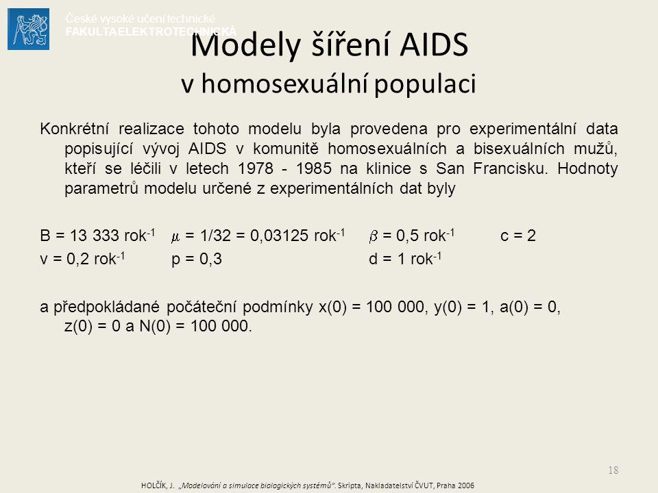 18 Konkrétní realizace tohoto modelu byla provedena pro experimentální data popisující vývoj AIDS v komunitě homosexuálních a bisexuálních mužů, kteří se léčili v letech 1978 - 1985 na klinice s San Francisku.