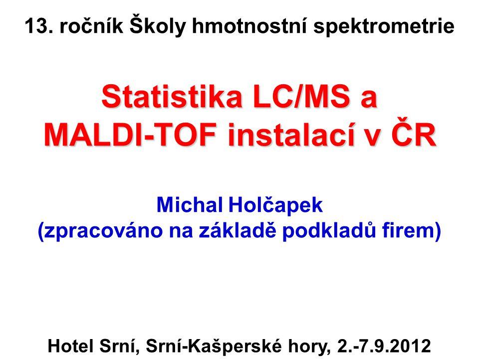 Přehled LC/MS a MALDI-TOF instalací v ČR Aktualizace září 2012 Celkem 324 přístrojů (vloni bylo 277, nárůst +47, tj.
