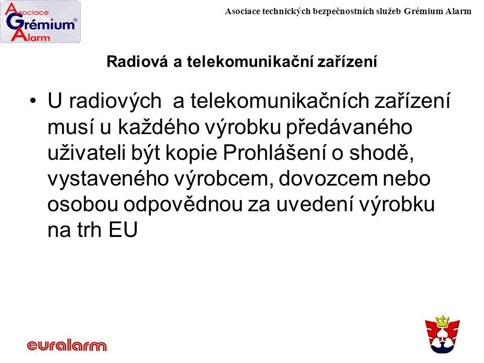 Asociace technických bezpečnostních služeb Grémium Alarm Radiová a telekomunikační zařízení U radiových a telekomunikačních zařízení musí u každého vý