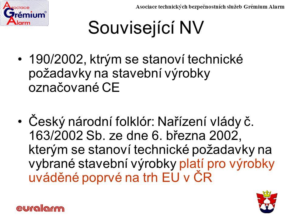 Asociace technických bezpečnostních služeb Grémium Alarm Související NV 190/2002, ktrým se stanoví technické požadavky na stavební výrobky označované