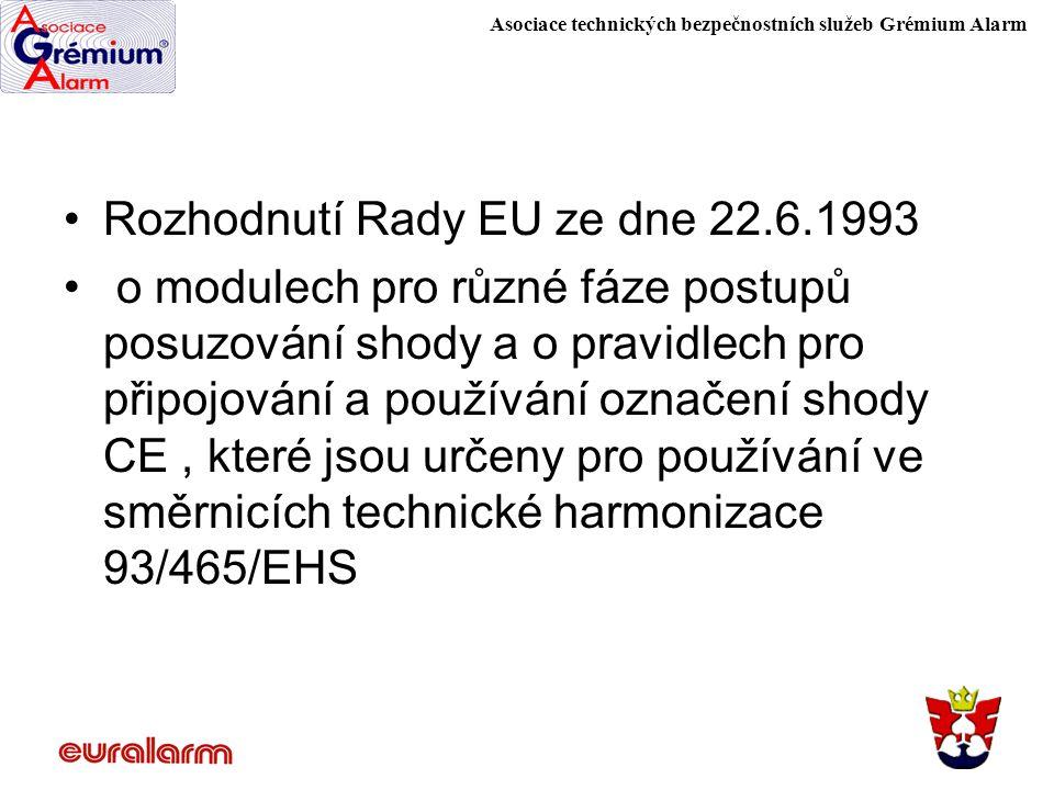 Asociace technických bezpečnostních služeb Grémium Alarm Rozhodnutí Rady EU ze dne 22.6.1993 o modulech pro různé fáze postupů posuzování shody a o pr