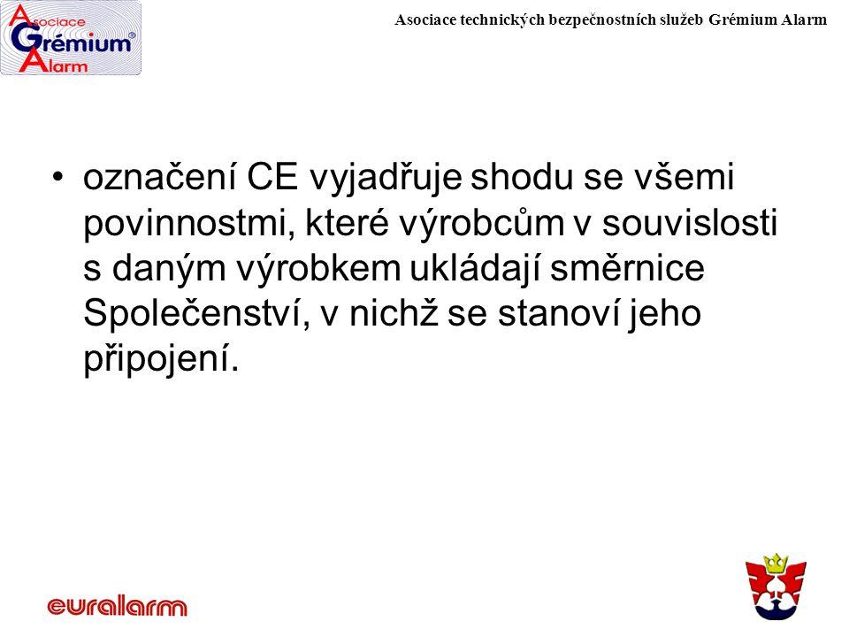 Asociace technických bezpečnostních služeb Grémium Alarm označení CE vyjadřuje shodu se všemi povinnostmi, které výrobcům v souvislosti s daným výrobk