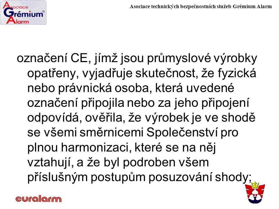 Asociace technických bezpečnostních služeb Grémium Alarm označení CE, jímž jsou průmyslové výrobky opatřeny, vyjadřuje skutečnost, že fyzická nebo prá