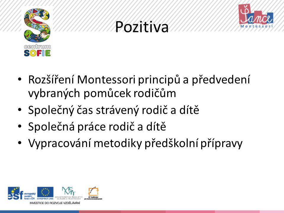 Pozitiva Rozšíření Montessori principů a předvedení vybraných pomůcek rodičům Společný čas strávený rodič a dítě Společná práce rodič a dítě Vypracování metodiky předškolní přípravy