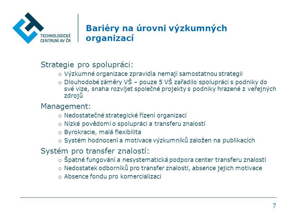 7 Bariéry na úrovni výzkumných organizací Strategie pro spolupráci: o Výzkumné organizace zpravidla nemají samostatnou strategii o Dlouhodobé záměry VŠ – pouze 5 VŠ zařadilo spolupráci s podniky do své vize, snaha rozvíjet společné projekty s podniky hrazené z veřejných zdrojů Management: o Nedostatečné strategické řízení organizací o Nízké povědomí o spolupráci a transferu znalostí o Byrokracie, malá flexibilita o Systém hodnocení a motivace výzkumníků založen na publikacích Systém pro transfer znalostí: o Špatné fungování a nesystematická podpora center transferu znalostí o Nedostatek odborníků pro transfer znalostí, absence jejich motivace o Absence fondu pro komercializaci
