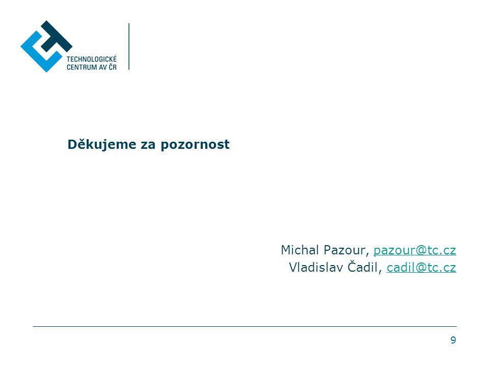 9 Děkujeme za pozornost Michal Pazour, pazour@tc.czpazour@tc.cz Vladislav Čadil, cadil@tc.czcadil@tc.cz
