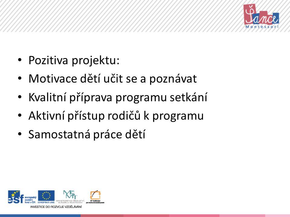 Pozitiva projektu: Motivace dětí učit se a poznávat Kvalitní příprava programu setkání Aktivní přístup rodičů k programu Samostatná práce dětí