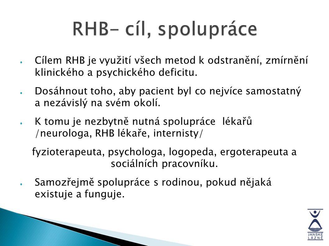 RHB- cíl, spolupráce ● Cílem RHB je využití všech metod k odstranění, zmírnění klinického a psychického deficitu. ● Dosáhnout toho, aby pacient byl co