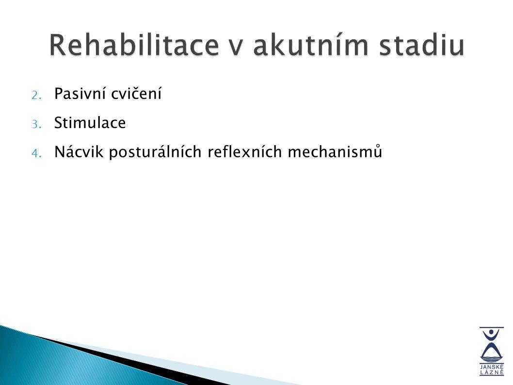 2. Pasivní cvičení 3. Stimulace 4. Nácvik posturálních reflexních mechanismů