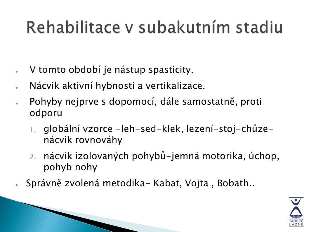 Rehabilitace v subakutním stadiu ● V tomto období je nástup spasticity. ● Nácvik aktivní hybnosti a vertikalizace. ● Pohyby nejprve s dopomocí, dále s