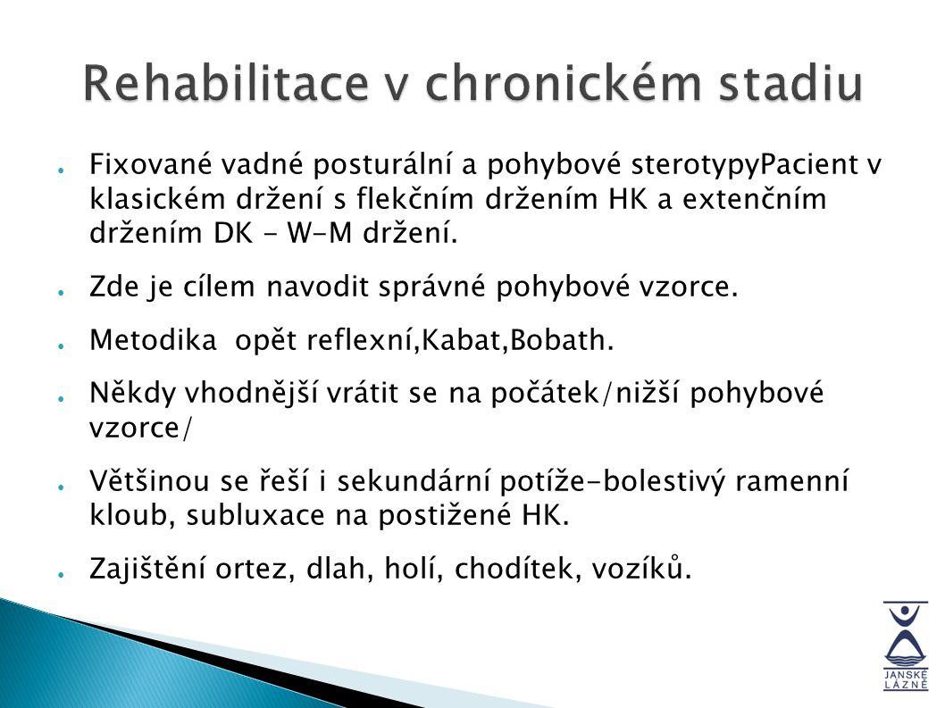 Rehabilitace v chronickém stadiu ● Fixované vadné posturální a pohybové sterotypyPacient v klasickém držení s flekčním držením HK a extenčním držením