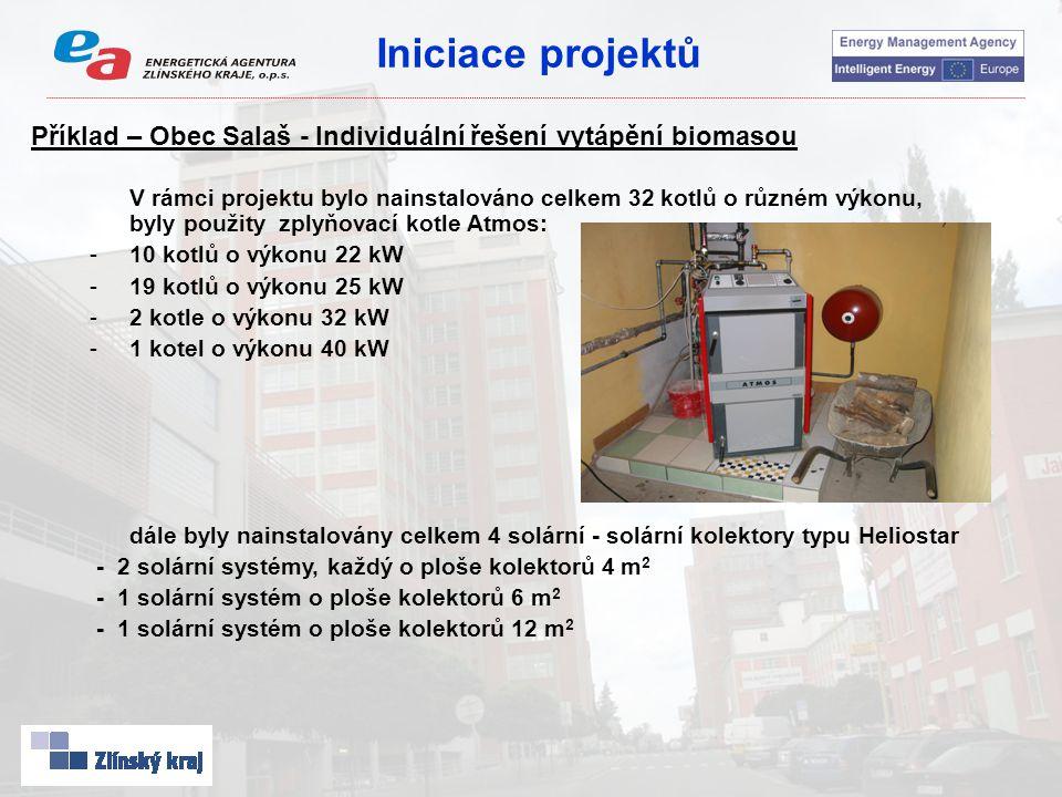 Iniciace projektů Příklad – Obec Salaš - Individuální řešení vytápění biomasou V rámci projektu bylo nainstalováno celkem 32 kotlů o různém výkonu, byly použity zplyňovací kotle Atmos: -10 kotlů o výkonu 22 kW -19 kotlů o výkonu 25 kW -2 kotle o výkonu 32 kW -1 kotel o výkonu 40 kW dále byly nainstalovány celkem 4 solární - solární kolektory typu Heliostar - 2 solární systémy, každý o ploše kolektorů 4 m 2 - 1 solární systém o ploše kolektorů 6 m 2 - 1 solární systém o ploše kolektorů 12 m 2