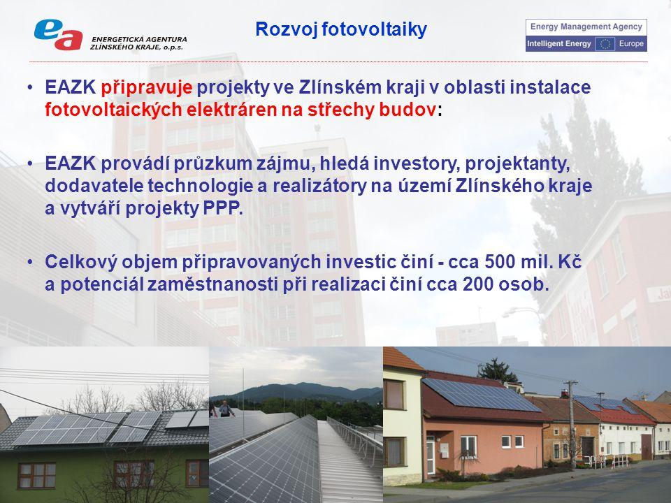 Rozvoj fotovoltaiky EAZK připravuje projekty ve Zlínském kraji v oblasti instalace fotovoltaických elektráren na střechy budov: EAZK provádí průzkum zájmu, hledá investory, projektanty, dodavatele technologie a realizátory na území Zlínského kraje a vytváří projekty PPP.