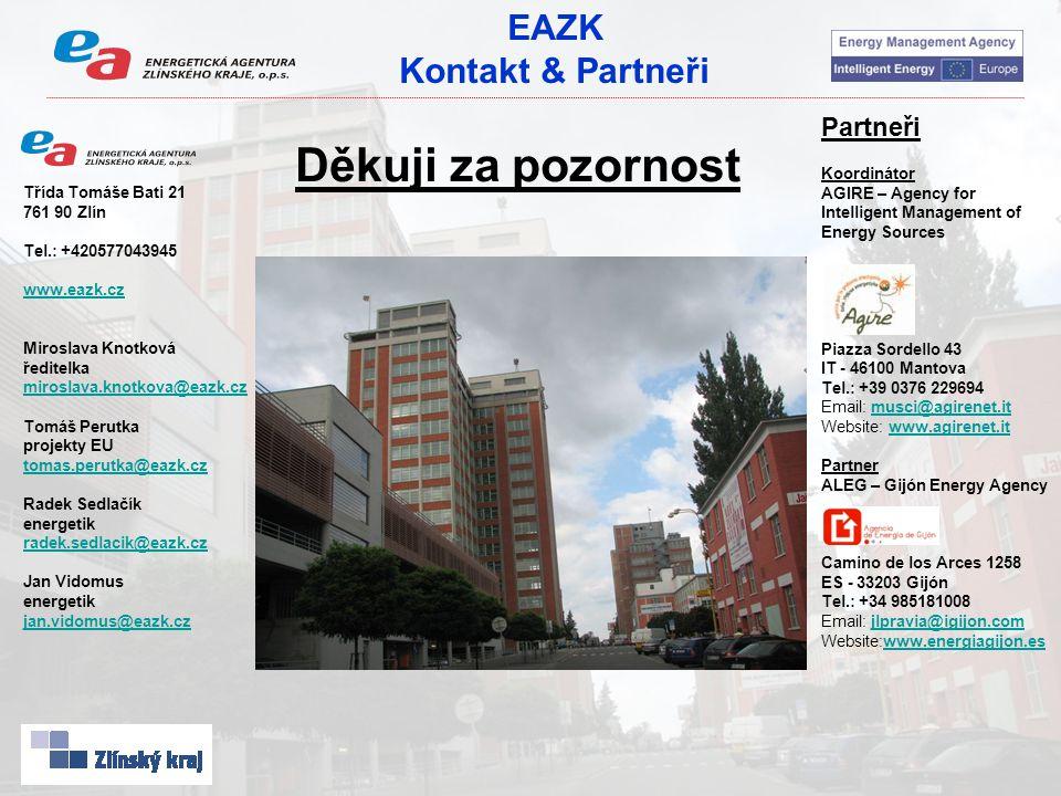 EAZK Kontakt & Partneři Partneři Koordinátor AGIRE – Agency for Intelligent Management of Energy Sources Piazza Sordello 43 IT - 46100 Mantova Tel.: +