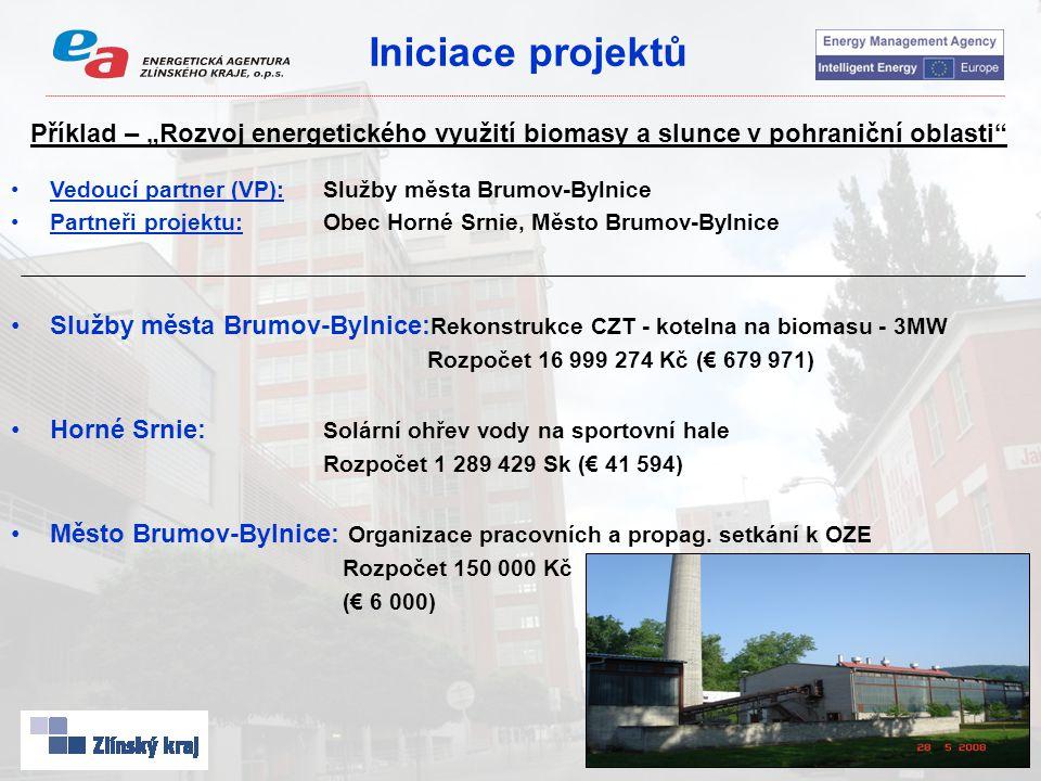 """Iniciace projektů Příklad – """"Rozvoj energetického využití biomasy a slunce v pohraniční oblasti"""" Vedoucí partner (VP):Služby města Brumov-Bylnice Part"""