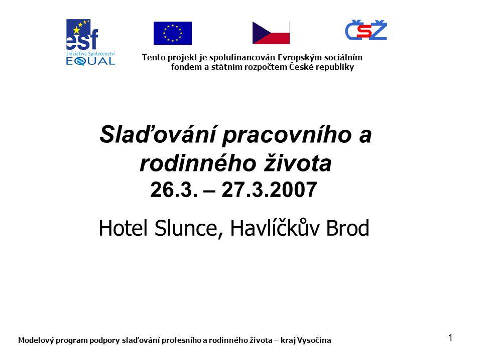 1 Modelový program podpory slaďování profesního a rodinného života – kraj Vysočina Tento projekt je spolufinancován Evropským sociálním fondem a státním rozpočtem České republiky Slaďování pracovního a rodinného života 26.3.