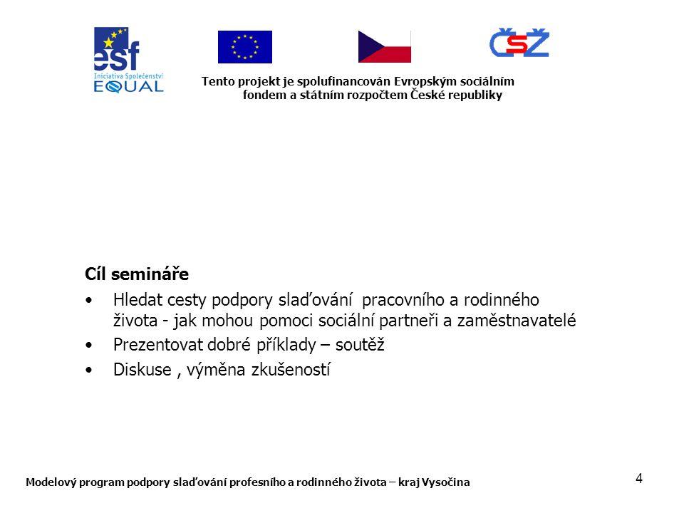 4 Modelový program podpory slaďování profesního a rodinného života – kraj Vysočina Tento projekt je spolufinancován Evropským sociálním fondem a státním rozpočtem České republiky Cíl semináře Hledat cesty podpory slaďování pracovního a rodinného života - jak mohou pomoci sociální partneři a zaměstnavatelé Prezentovat dobré příklady – soutěž Diskuse, výměna zkušeností