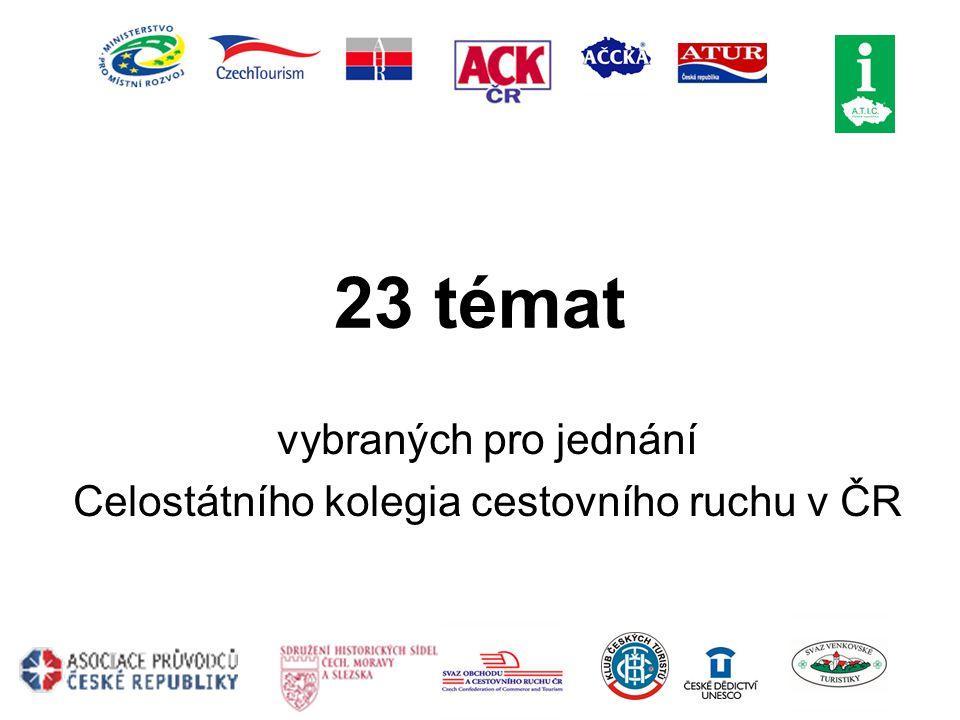 23 témat vybraných pro jednání Celostátního kolegia cestovního ruchu v ČR