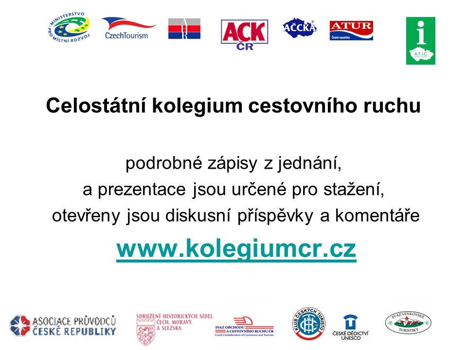 Celostátní kolegium cestovního ruchu podrobné zápisy z jednání, a prezentace jsou určené pro stažení, otevřeny jsou diskusní příspěvky a komentáře www.kolegiumcr.cz