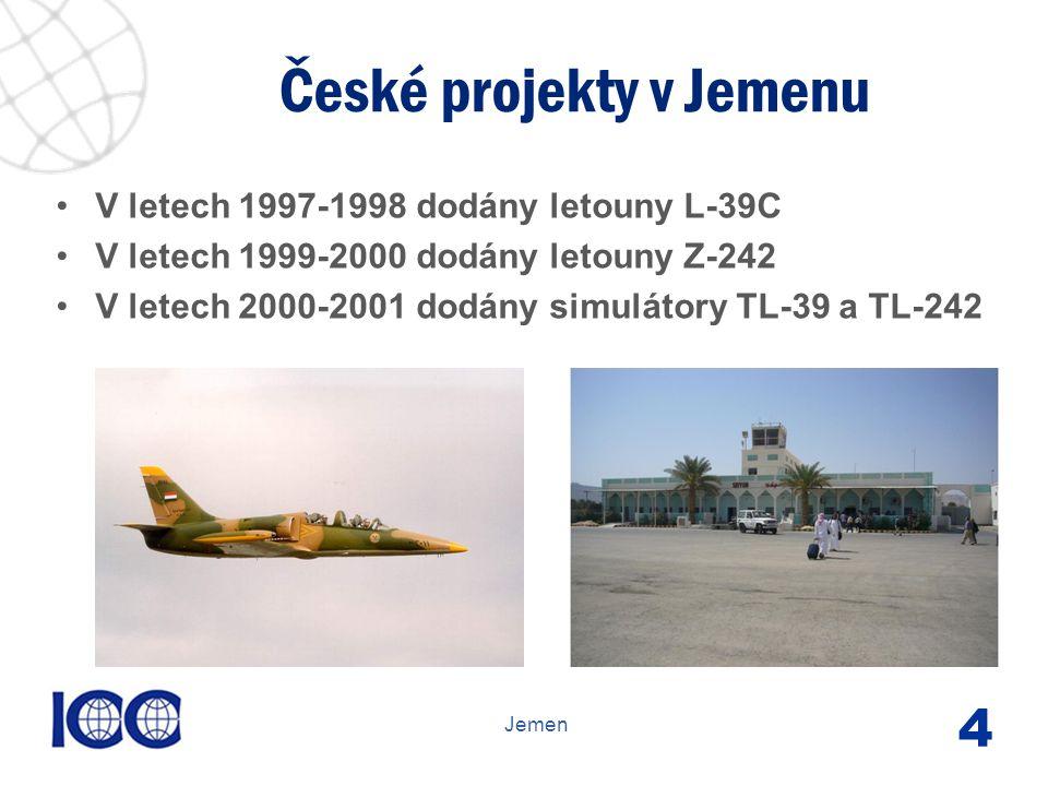 www.icc-cr.cz V letech 1997-1998 dodány letouny L-39C V letech 1999-2000 dodány letouny Z-242 V letech 2000-2001 dodány simulátory TL-39 a TL-242 České projekty v Jemenu Jemen 4