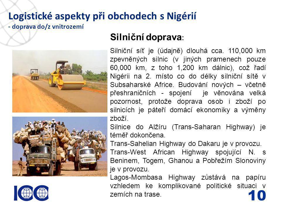 www.icc-cr.cz Logistické aspekty při obchodech s Nigérií - doprava do/z vnitrozemí 10 Silniční doprava : Silniční síť je (údajně) dlouhá cca. 110,000