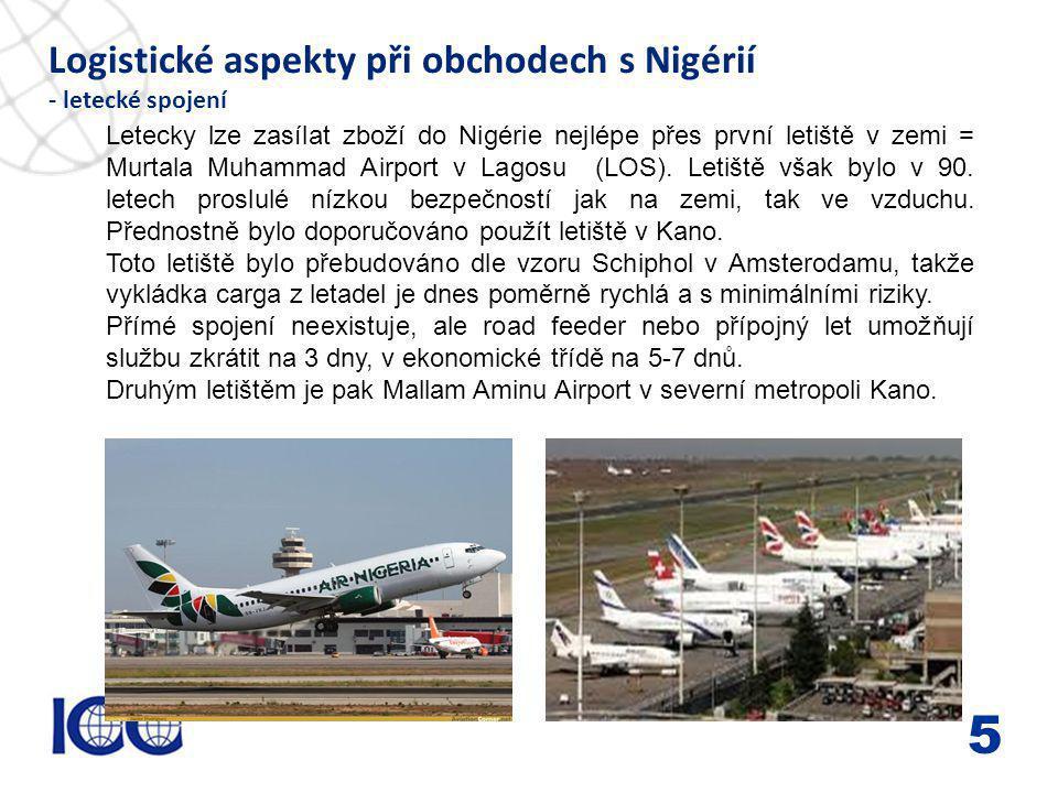 www.icc-cr.cz Logistické aspekty při obchodech s Nigérií - letecké spojení 5 Letecky lze zasílat zboží do Nigérie nejlépe přes první letiště v zemi = Murtala Muhammad Airport v Lagosu (LOS).