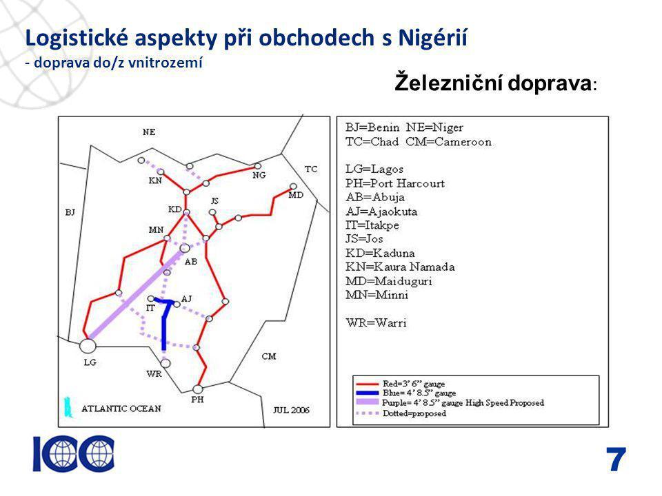 www.icc-cr.cz Logistické aspekty při obchodech s Nigérií - doprava do/z vnitrozemí 8 Železniční doprava : Nigerijská železniční síť byla rozvíjena zcela v duchu bývalé koloniální potřeby a správy.