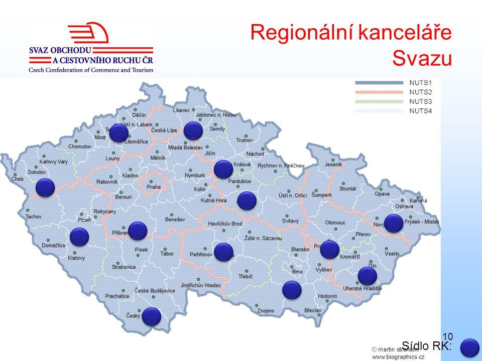 10 Regionální kanceláře Svazu Sídlo RK: