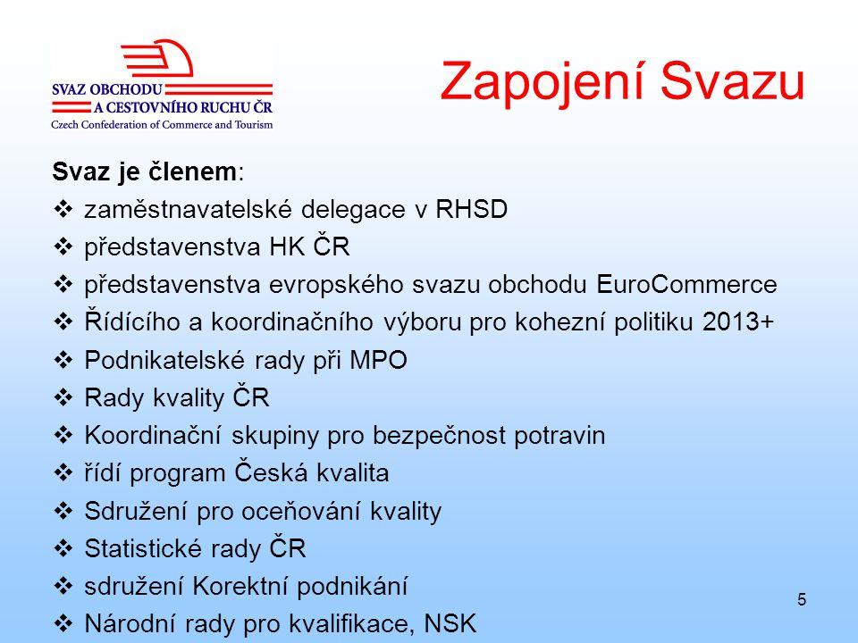 5 Zapojení Svazu Svaz je členem:  zaměstnavatelské delegace v RHSD  představenstva HK ČR  představenstva evropského svazu obchodu EuroCommerce  Ří
