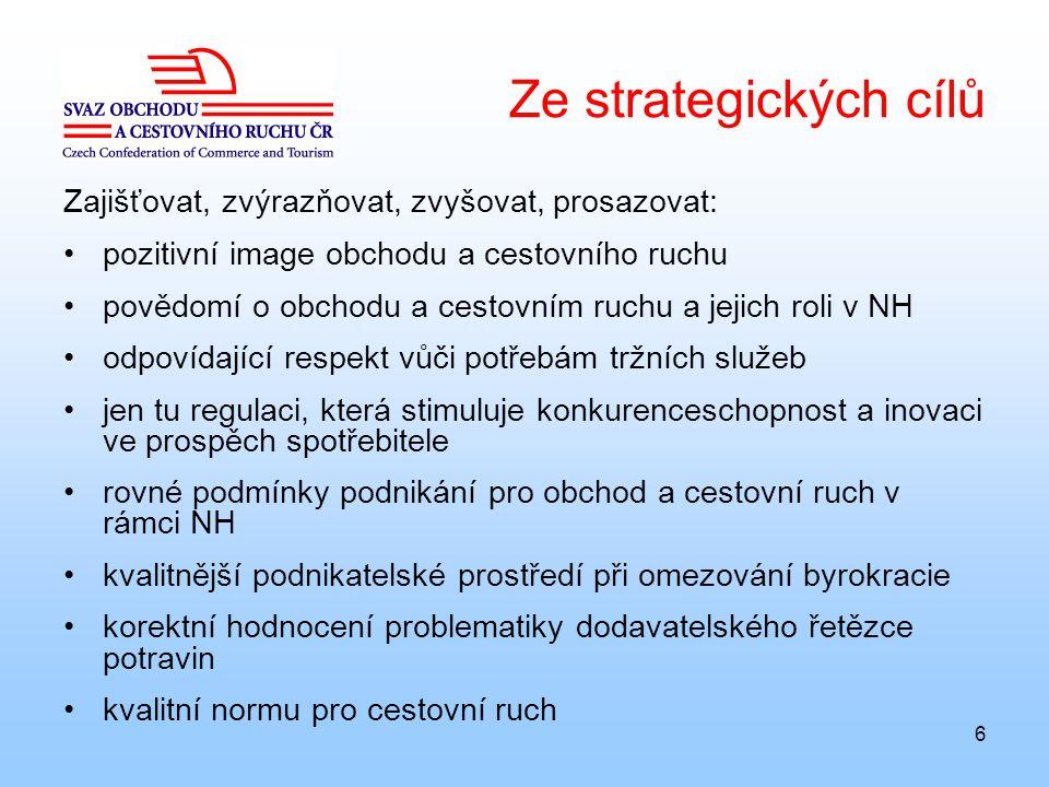 6 Ze strategických cílů Zajišťovat, zvýrazňovat, zvyšovat, prosazovat: pozitivní image obchodu a cestovního ruchu povědomí o obchodu a cestovním ruchu