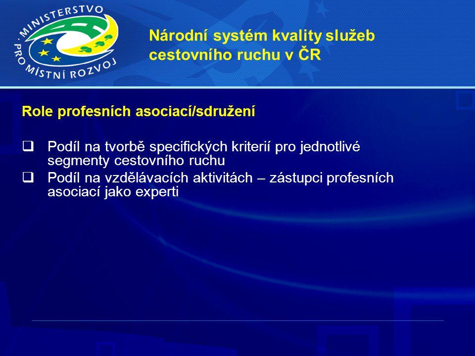 Národní systém kvality služeb cestovního ruchu v ČR Role profesních asociací/sdružení  Podíl na tvorbě specifických kriterií pro jednotlivé segmenty