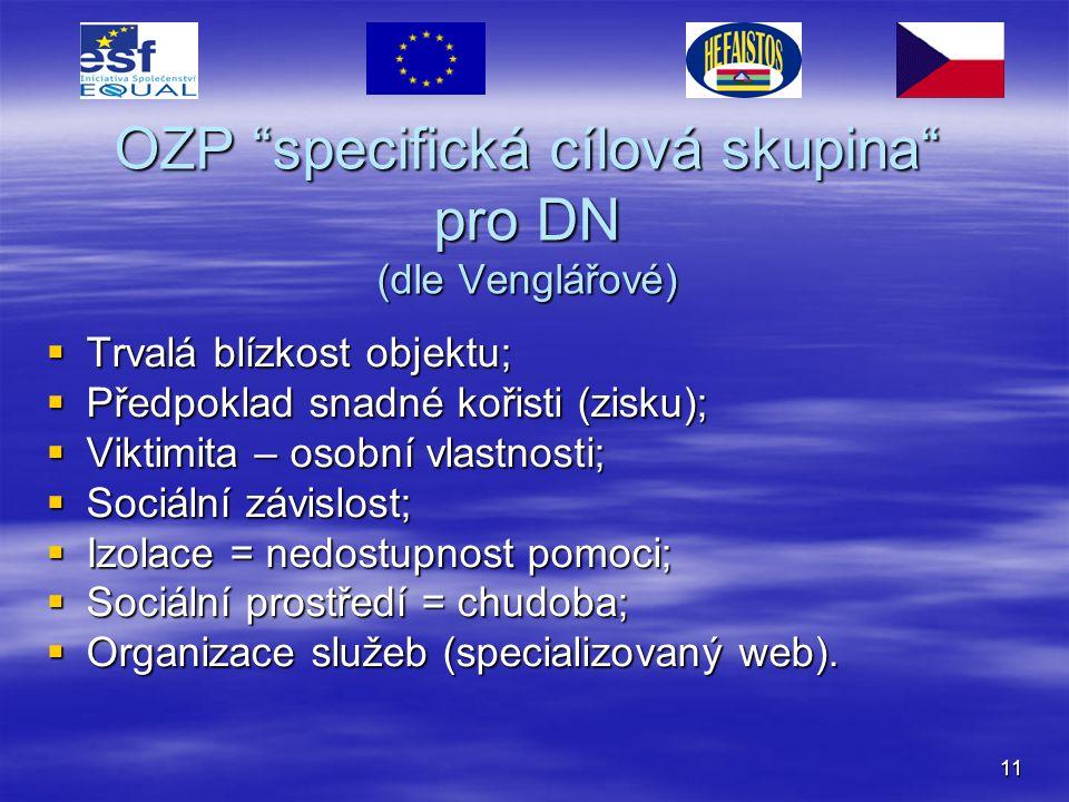 """11 OZP """"specifická cílová skupina"""" pro DN (dle Venglářové)  Trvalá blízkost objektu;  Předpoklad snadné kořisti (zisku);  Viktimita – osobní vlastn"""