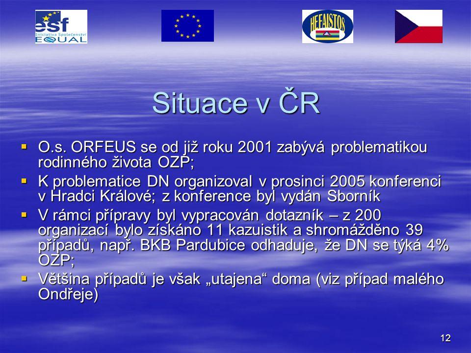 12 Situace v ČR  O.s. ORFEUS se od již roku 2001 zabývá problematikou rodinného života OZP;  K problematice DN organizoval v prosinci 2005 konferenc