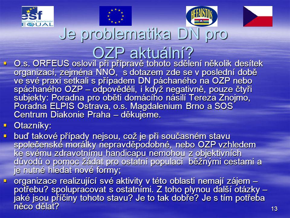 13 Je problematika DN pro OZP aktuální?  O.s. ORFEUS oslovil při přípravě tohoto sdělení několik desítek organizací, zejména NNO, s dotazem zde se v