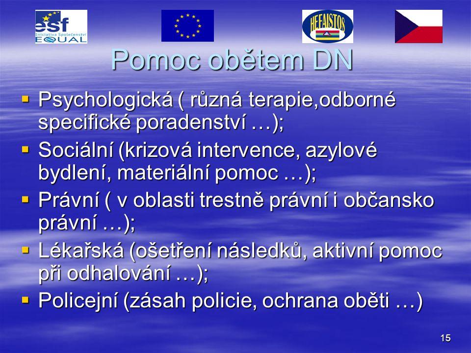 15 Pomoc obětem DN  Psychologická ( různá terapie,odborné specifické poradenství …);  Sociální (krizová intervence, azylové bydlení, materiální pomo